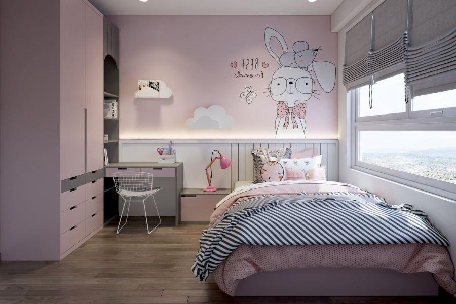 trang trí phòng cho trẻ em bằng màu hồng