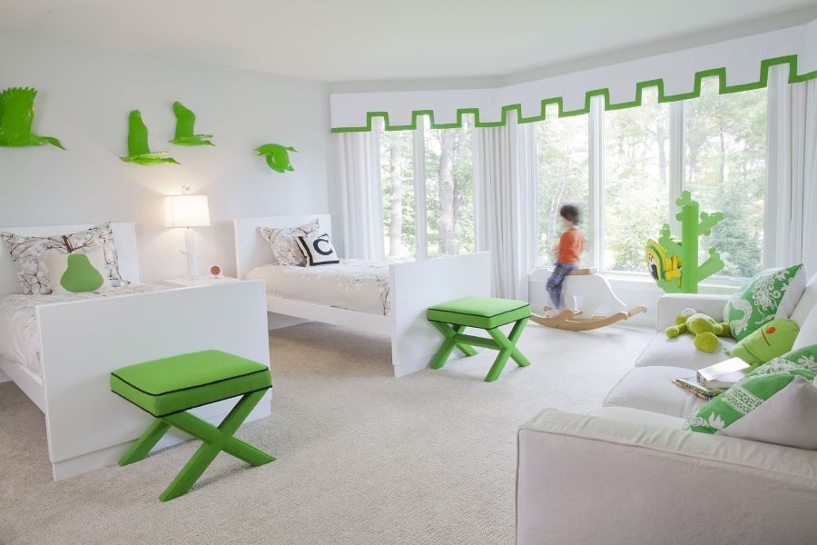trang trí phòng cho trẻ em bằng màu xanh lá