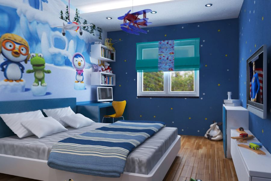 trang trí phòng cho trẻ em bằng màu xanh dương